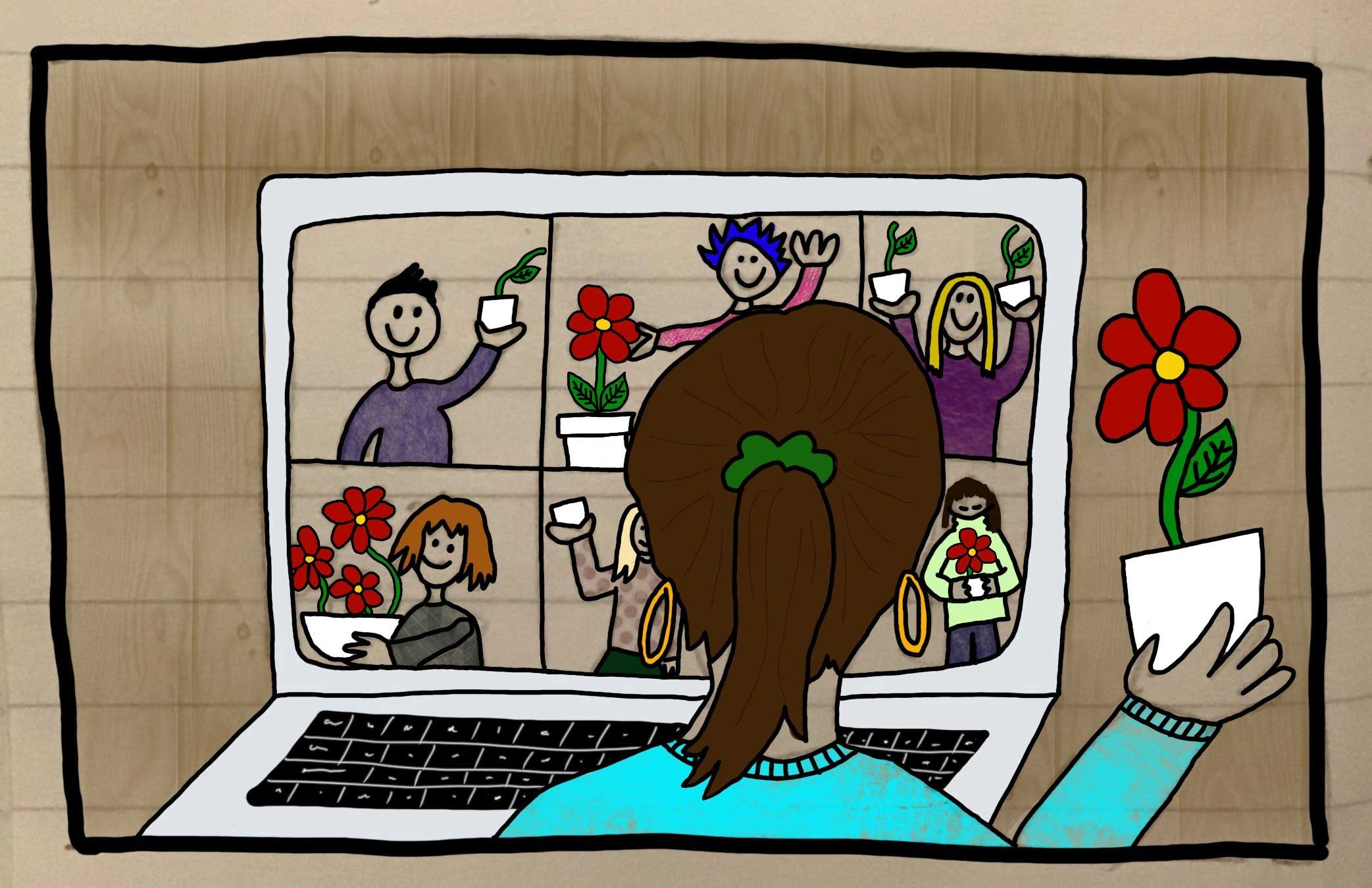 Info image of a young woman sat in a Zoom Call showing a plant to her friends